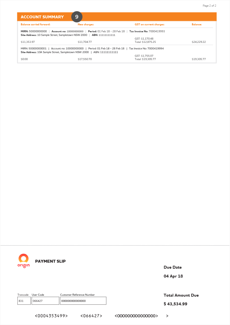 Page 2 of Origin commercial consolidated natural gas and electricity bill