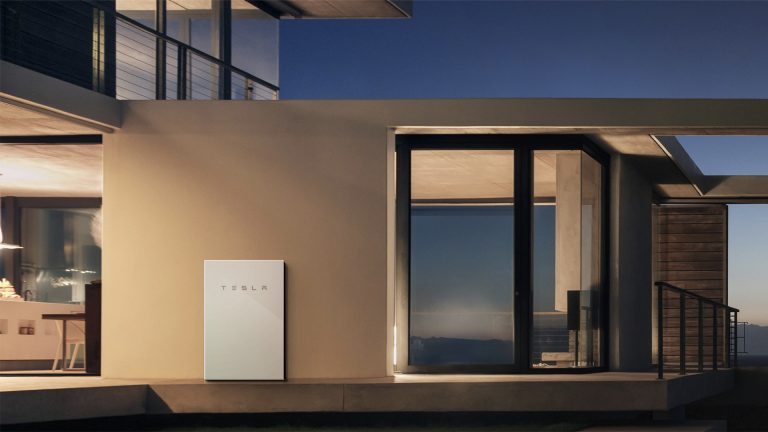 photo tall solar tesla powerwall 2 house